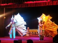 Myanmarese artistes performing at the Karaweik palace