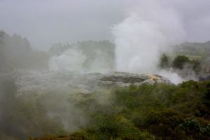 The Geyser spurting into the air as if on clockwork!